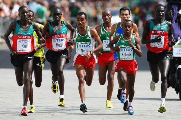 The lead pack in the men's marathon (L-R) Kenya's Abel Kirui and Emmanuel Mutai, Ethiopia's Deriba Merga and Tsegay Kebede with Robert Cheruiyot of Kenya during the Marathon at the 12th IAAF World Championships in Berlin (Getty Images)