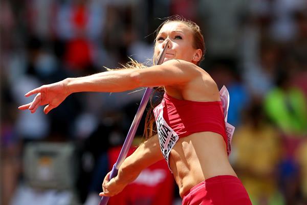 Laura Ikauniece-Admidina in the heptathlon javelin at the IAAF World Championships, Beijing 2015 (Getty Images)