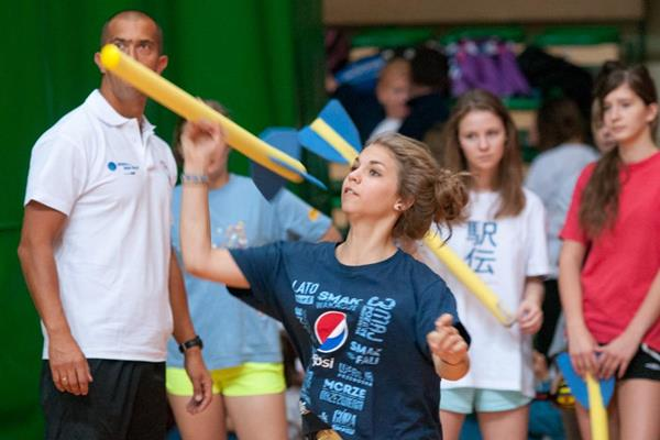 Learning the javelin at the athletics camp in Warsaw (Organisers)