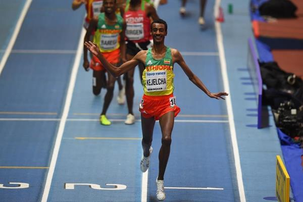 Yomif Kejelcha wins the 3000m at the IAAF World Indoor Championships Birmingham 2018 (Getty Images)