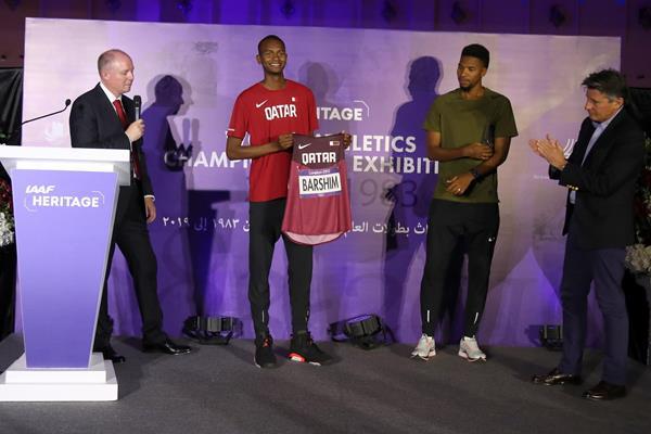 From left: IAAF Heritage Director Chris Turner, Mutaz Essa Barshim, Abderrahman Samba and IAAF President Sebastian at the IAAF Heritage Exhibition launch in Doha (Karim Jaafar )