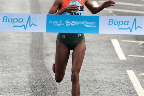 Berhane Adere prevails at the Great North Run (Mark Shearman)