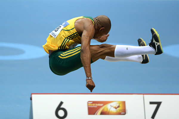 Zarck Visser in the long jump at the IAAF World Indoor Championships Sopot 2014 (AFP / Getty Images)