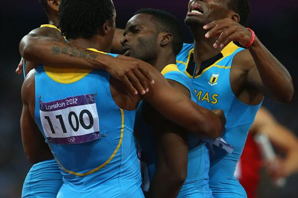 Chris Brown of the Bahamas, Demetrius Pinder of the Bahamas, Michael Mathieu of the Bahamas and Ramon Miller of the Bahamas celebrate winning gold in the Men's 4 x 400m Relay Final of the London Olympic Games on 10 August 2012 (Getty Images)
