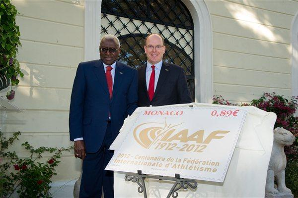 IAAF President Lamine Diack with HSH Prince Albert II of Monaco at the IAAF Centenary party at the Palace (Gaëtan Luci / Palais princier)