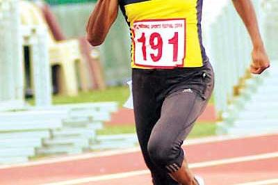 Susanthika Jayasinghe winning the 200m in Colombo (Weerawansa)
