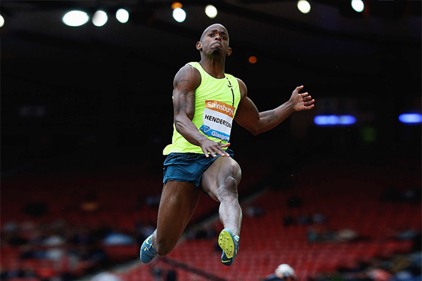 Jeffrey Henderson in the long jump at the IAAF Diamond League meeting in Glasgow (Getty Images)