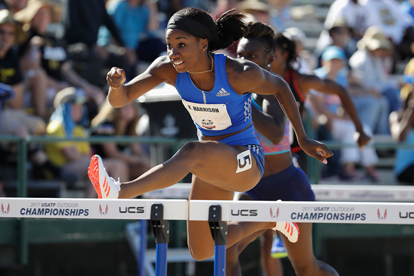 Kendra Harrison on her way to winning the 100m hurdles at the US Championships (Getty Images)
