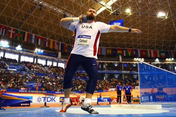 USA's Christian Cantwell, winner of the men's shot at the IAAF World Indoor Championships in Valencia (Getty Images)