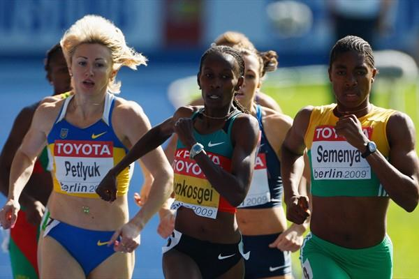 Defending champion Janeth Jepkosgei of Kenya before her fall in the heats of the women's 800m (Getty Images)