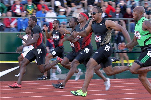 Walter Dix (lane 2) takes the US 100m title ahead of Justin Gatlin (5) and Michael Rodgers (3) (Getty Images)