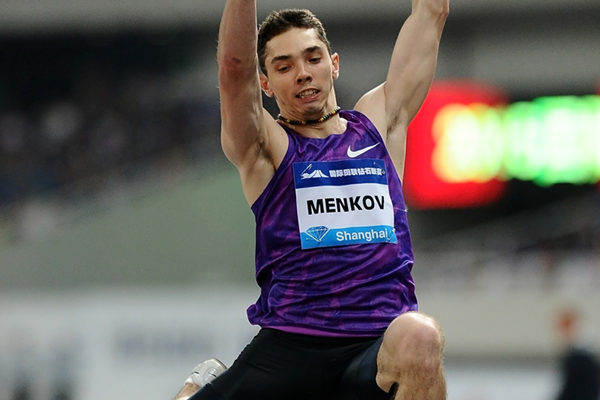 Aleksandr Menkov on his way to winning the long jump at the IAAF Diamond League meeting in Shanghai (Errol Anderson)