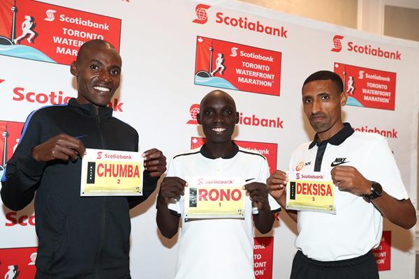 Dickson Chumba, Philemon Rono and Solomon Deksisa in Toronto (Victah Sailer/organisers)