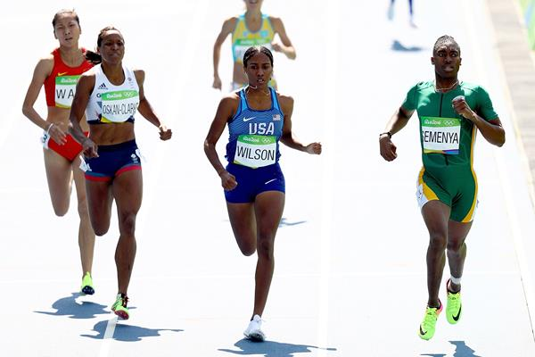 Shelayna Oskan-Clarke, Ajee Wilson and Caster Semenya in the 800m at the Rio 2016 Olympic Games (Getty Images)