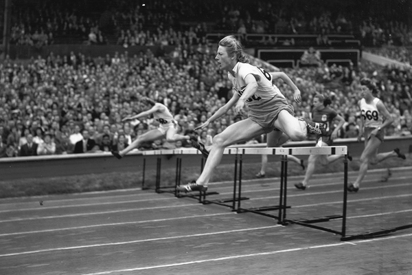 Fanny Blankers-Koen in the 80m hurdles at the 1948 Olympic Games in London (Getty Images)