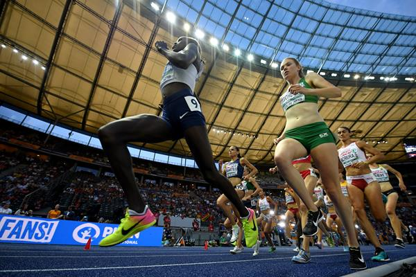 Lonah Chemtai Salpeter leads the 10,000m at the European Championships in Berlin (Getty Images)