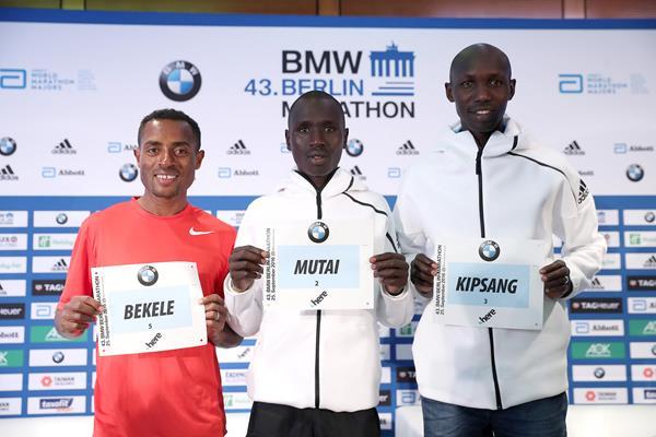 Kenenisa Bekele, Emmanuel Mutai and Wilson Kipsang at the pre-race press conference in Berlin (Victah Sailer/organisers)