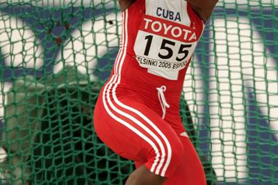 Yipsi Moreno of Cuba takes silver in the women's Hammer Throw (Getty Images)