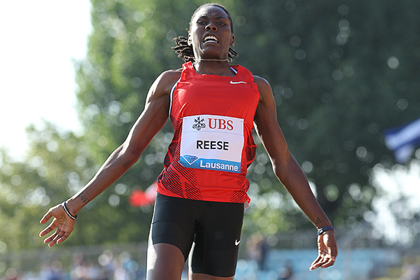 Brittney Reese in the long jump at the IAAF Diamond League meeting in Lausanne (Giancarlo Colombo)