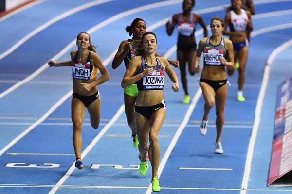 Joanna Jozwik winning the 800m at the Muller Indoor Grand Prix in Birmingham (Getty Images)