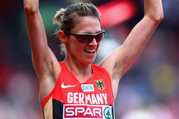 Germany's Antje Moldner-Schmidt celebrates her victory in the steeplechase at the European Championships (Getty Images)