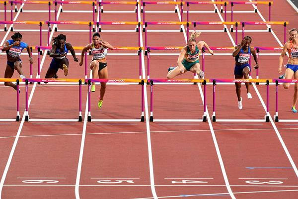 Competitors clear the last barrier in the women's 100m hurdles final at the IAAF World Championships London 2017 (Getty)