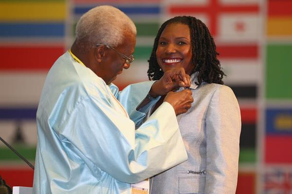 Pauline Davis-Thompson receives an IAAF Veteran Pin at the 49th IAAF Congress in Moscow (IAAF)