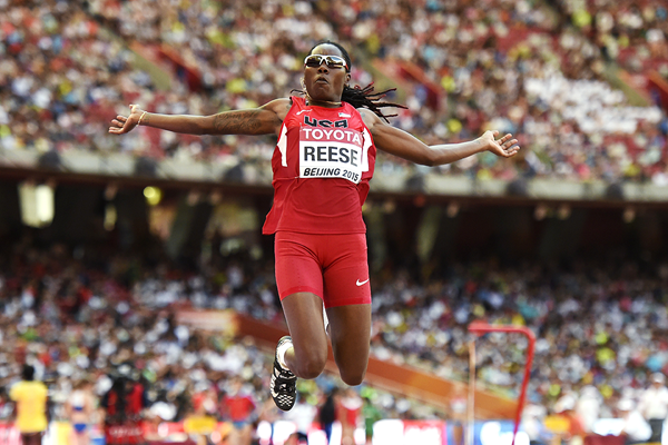 Brittney Reese in the long jump at the IAAF World Championships Beijing 2015 (AFP / Getty Images)