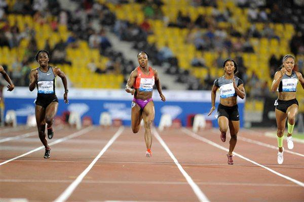 Women's 100m at the 2012 Samsung Diamond League in Doha - Felix won (Jiro Mochizuki)