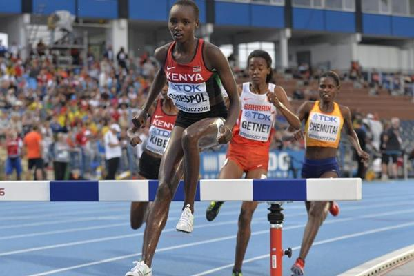Celliphine Chepteek Chespol in the 3000m steeplechase at the IAAF World U20 Championships Bydgoszcz 2016 (Getty Images)
