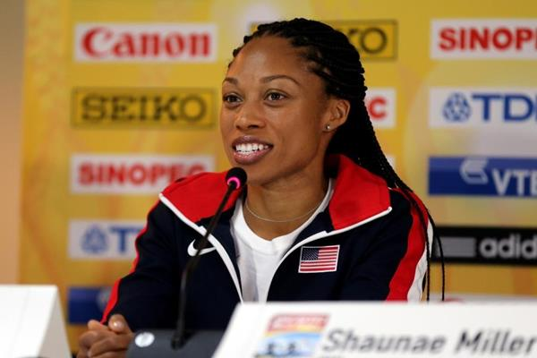 Allyson Felix at the IAAF/BTC World Relays, Bahamas 2015 press conference (Getty Images)