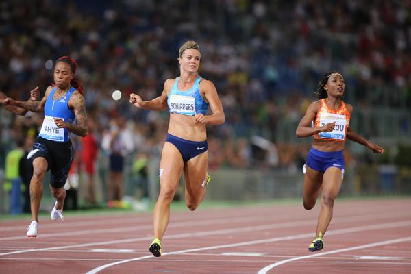 Dafne Schippers winning the 100m at the IAAF Diamond League meeting in Rome (Philippe Fitte)