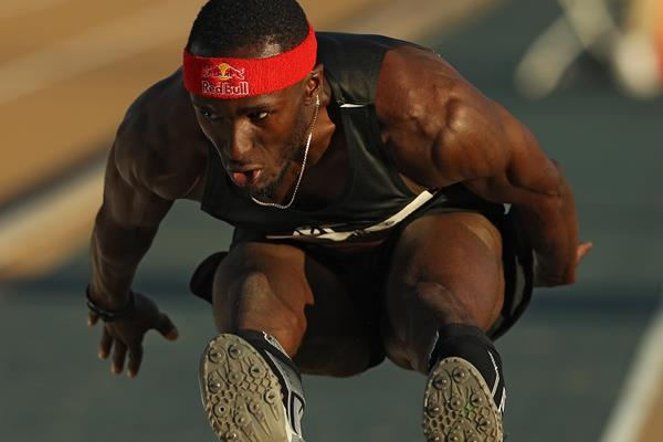 Will Claye threatens the 18-metre barrier in Sacramento (Getty Images)
