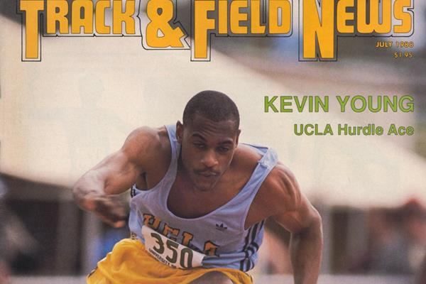Kevin Young on the cover of the July 1988 issue of Track & Field News (TFN)