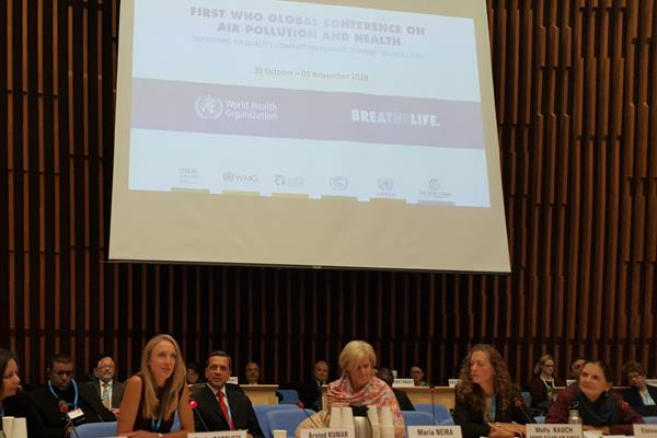 Paula Radcliffe at the First World Health Organisation Global Conference on Air Pollution and Health (Alejandro Laguna Lopez/WHO)