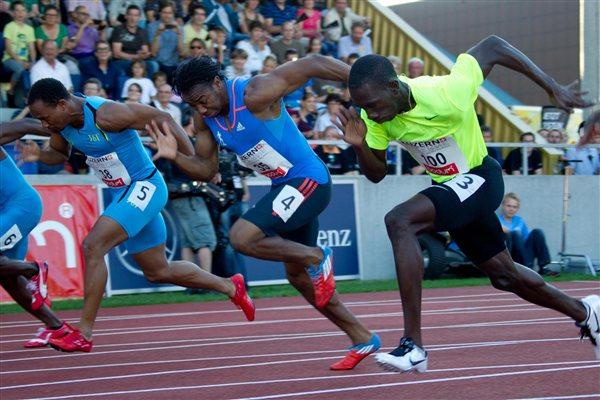 Yohan Blake (c) en route to his 9.85 victory in Lucerne (Hanspeter Roos)