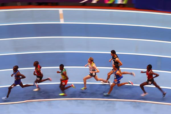Athletes in the men's 3000m heats at the IAAF World Indoor Championships Birmingham 2018 (Getty Images)