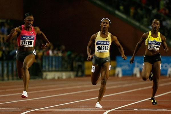 USA's Carmelita Jeter powers to a 10.88 victory over World Champion Shelly-Ann Fraser in the 100m (Getty Images)