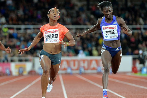 Shelly-Ann Fraser-Pryce beats Tori Bowie in the 100m at the IAAF Diamond League meeting in Stockholm (Hasse Sjogren)