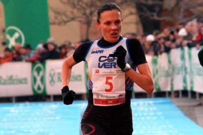 Aniko Kalovics winning the 5km at the Bolzano BoClassic (Lorenzo Sampaolo)