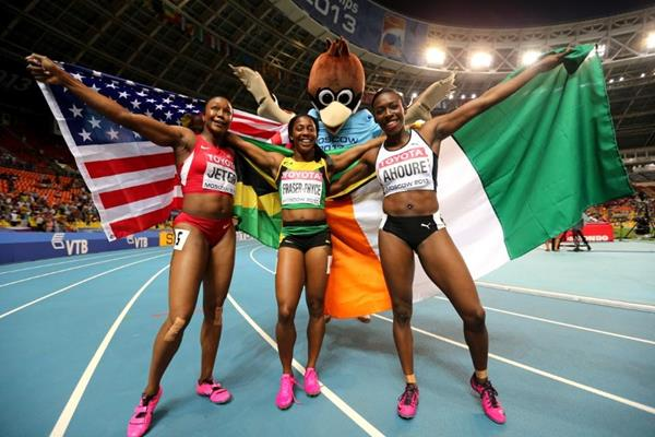 Shelly Ann Fraser Pryce, Murielle Ahoure and Carmelita Jeter  in the womens 100m Final at the IAAF World Athletics Championships Moscow 2013 (Getty Images)