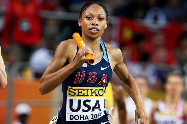 Allyson Felix in the 4x400m at the 2010 IAAF World Indoor Championships (Getty Images)