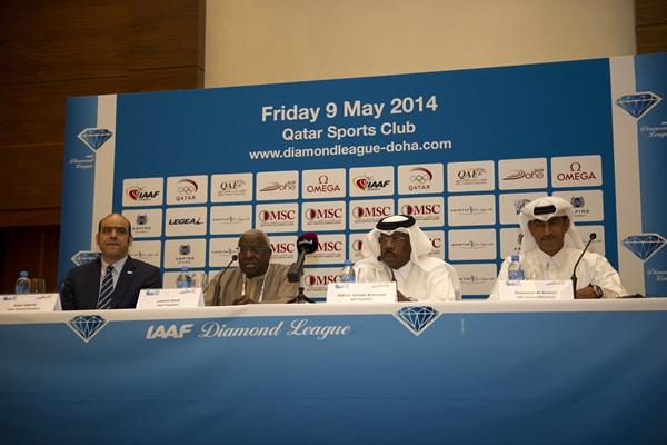 Senior officials from the IAAF and Qatar Athletics Federation at the 2014 IAAF Diamond League press conference in Doha (Deca TxT)