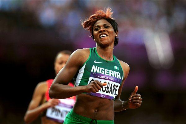 Blessing Okagbare of Nigeria competes in the Women's 100m Round 1 Heats on Day 7 of the London 2012 Olympic Games at Olympic Stadium on August 3, 2012  (Getty Images)