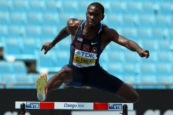 Kerron Clement of United States competes in the men's 400 metres hurdles heats during day three (Getty Images)