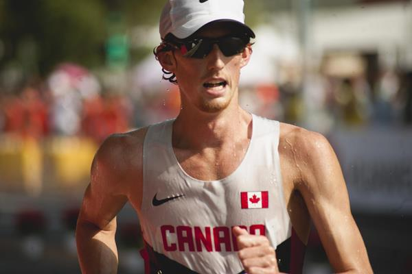 Evan Dunfee in the 20km race walk (Jon Mulkeen)