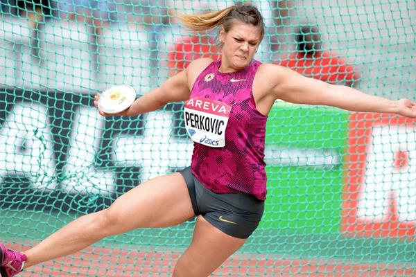 Sandra Perkovic, winner of the discus at the IAAF Diamond League meeting in Paris (Jiro Mochizuki)