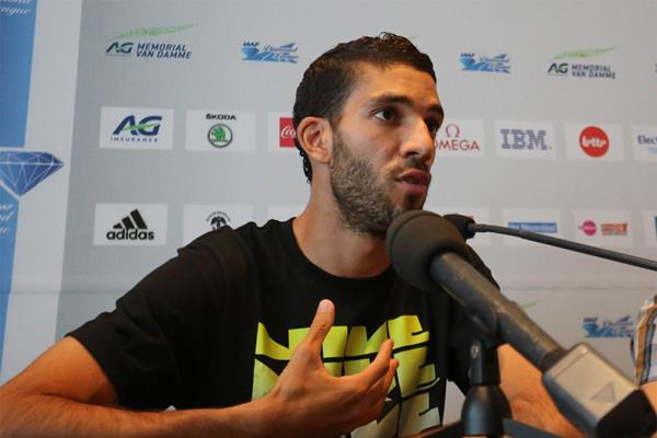 Mahiedine Mekhissi-Benabbad at the press conference ahead of the IAAF Diamond League meeting in Brussels (Gladys Chai von der Laage)