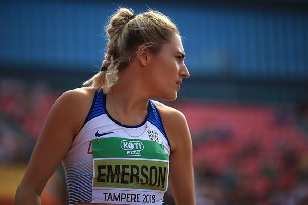 Heptathlon leader Niamh Emerson at the IAAF World U20 Championships Tampere 2018 (Getty Images)