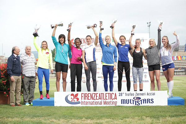 The heptathlon podium at the Multistars meeting in Florence (Organisers / SAB Photo)